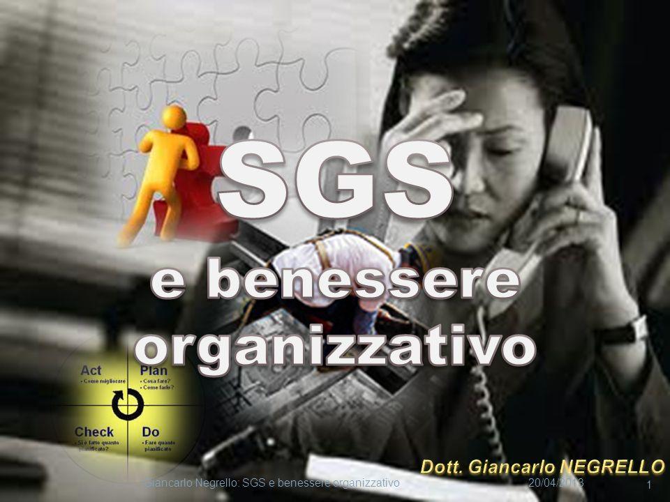 20/04/2013Giancarlo Negrello: SGS e benessere organizzativo 1