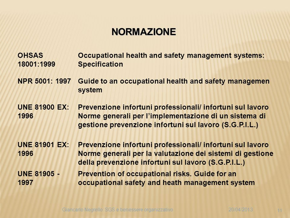 OHSAS 18001:1999 Occupational health and safety management systems: Specification NPR 5001: 1997Guide to an occupational health and safety managemen system UNE 81900 EX: 1996 Prevenzione infortuni professionali/ infortuni sul lavoro Norme generali per limplementazione di un sistema di gestione prevenzione infortuni sul lavoro (S.G.P.I.L.) UNE 81901 EX: 1996 Prevenzione infortuni professionali/ infortuni sul lavoro Norme generali per la valutazione dei sistemi di gestione della prevenzione infortuni sul lavoro (S.G.P.I.L.) UNE 81905 - 1997 Prevention of occupational risks.