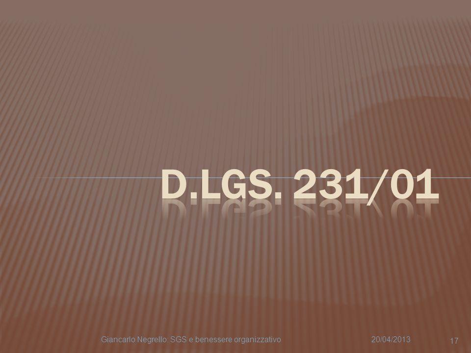20/04/2013Giancarlo Negrello: SGS e benessere organizzativo 17