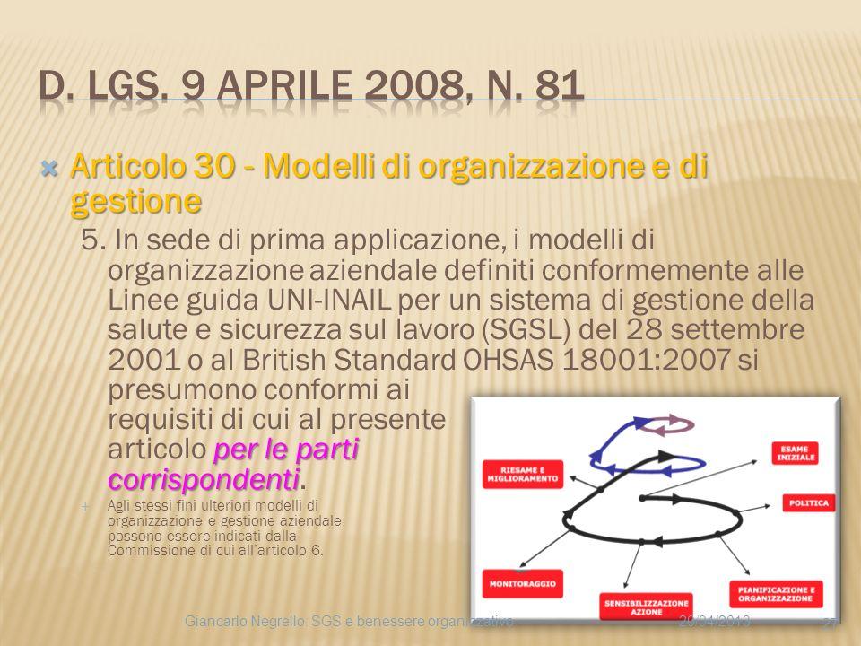 Articolo 30 - Modelli di organizzazione e di gestione Articolo 30 - Modelli di organizzazione e di gestione per le parti corrispondenti 5. In sede di