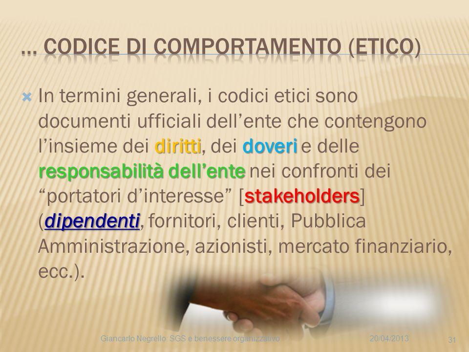 dirittidoveri responsabilità dellente stakeholders dipendenti In termini generali, i codici etici sono documenti ufficiali dellente che contengono lin
