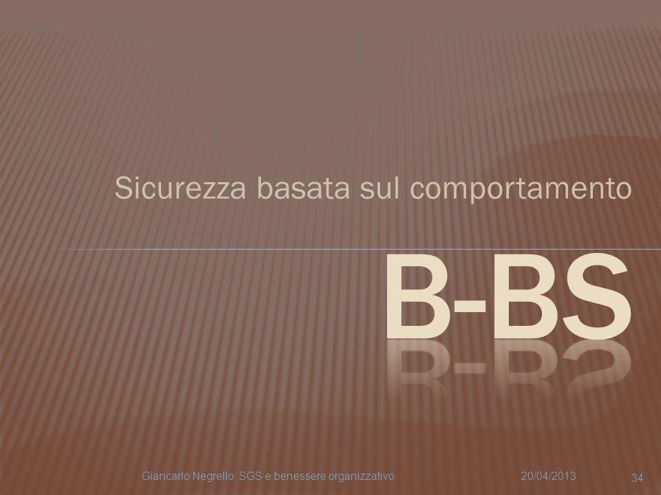 Sicurezza basata sul comportamento 20/04/2013Giancarlo Negrello: SGS e benessere organizzativo 34