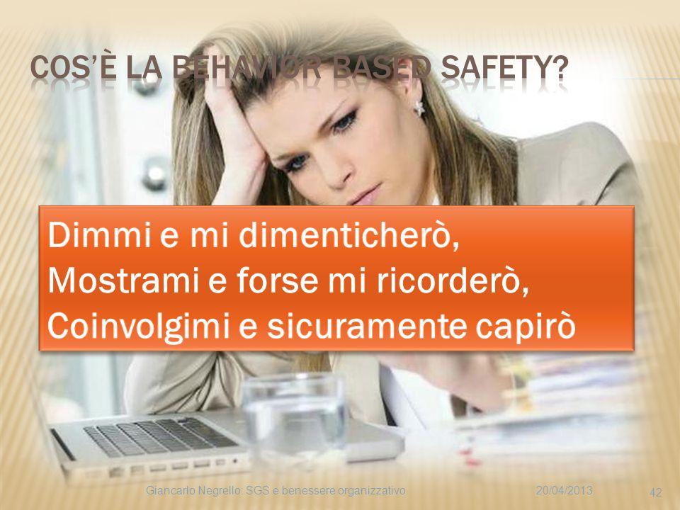 20/04/2013Giancarlo Negrello: SGS e benessere organizzativo 42