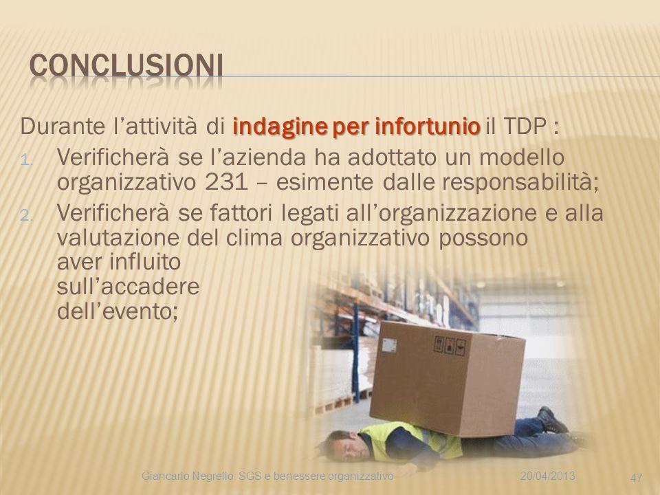 indagine per infortunio Durante lattività di indagine per infortunio il TDP : 1. Verificherà se lazienda ha adottato un modello organizzativo 231 – es