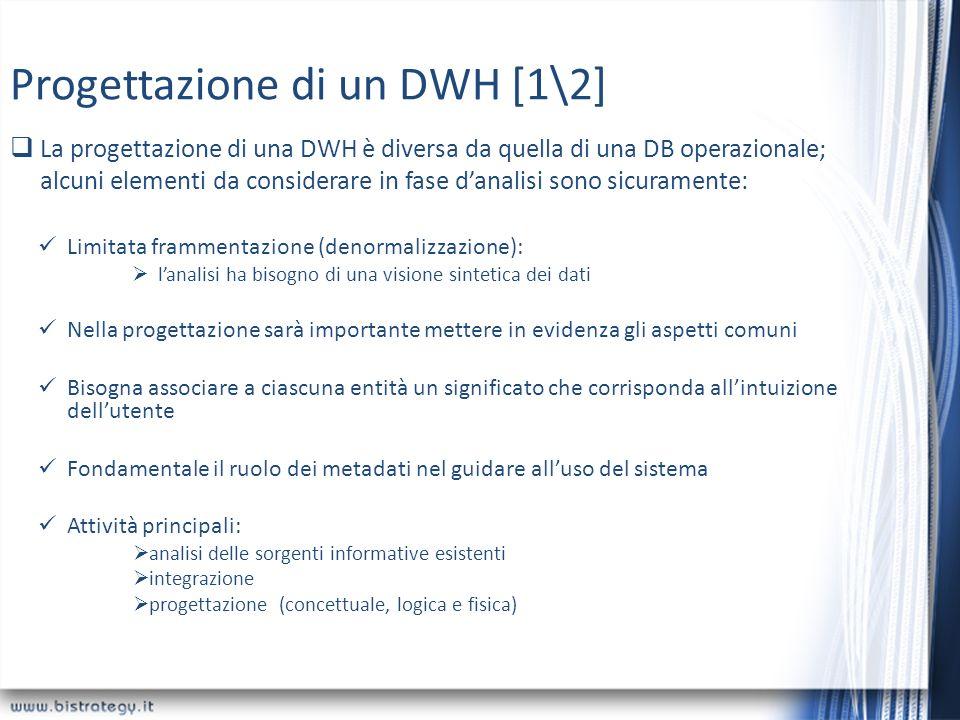 Progettazione di un DWH [1\2] Limitata frammentazione (denormalizzazione): lanalisi ha bisogno di una visione sintetica dei dati Nella progettazione s