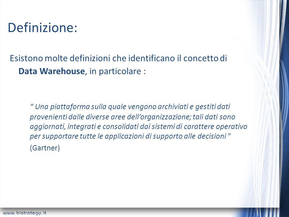 Definizione: Esistono molte definizioni che identificano il concetto di Data Warehouse, in particolare : Una piattaforma sulla quale vengono archiviat