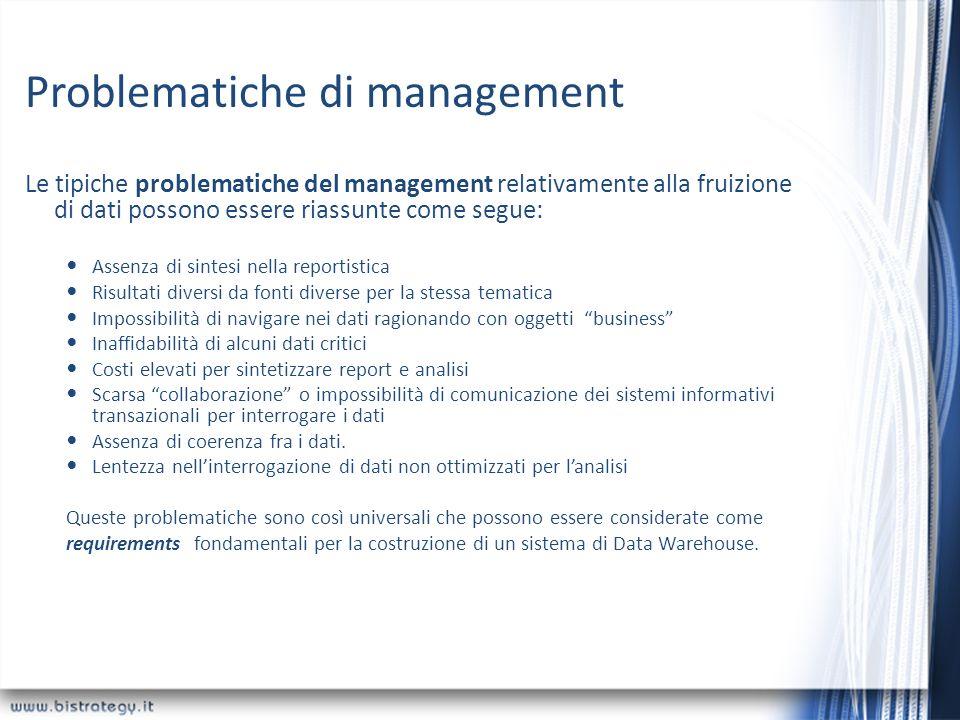 Problematiche di management Le tipiche problematiche del management relativamente alla fruizione di dati possono essere riassunte come segue: Assenza