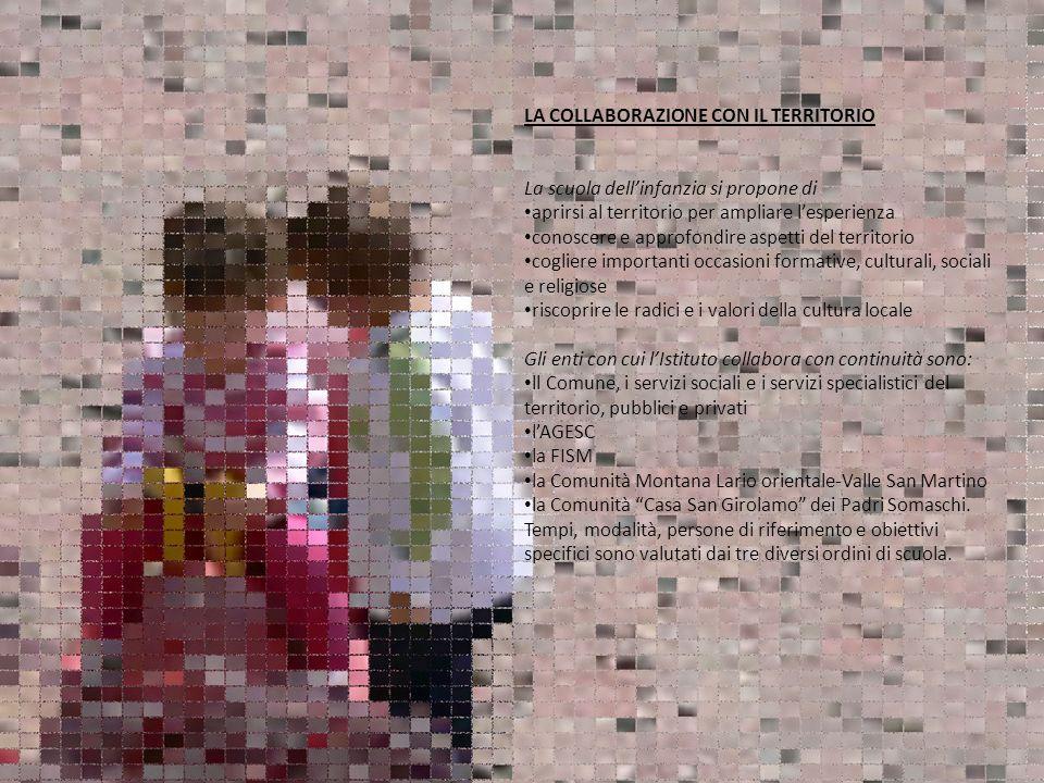 LA COLLABORAZIONE CON IL TERRITORIO La scuola dellinfanzia si propone di aprirsi al territorio per ampliare lesperienza conoscere e approfondire aspet