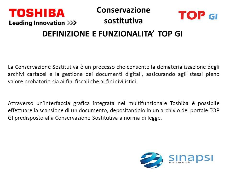 Conservazione sostitutiva DEFINIZIONE E FUNZIONALITA TOP GI La Conservazione Sostitutiva è un processo che consente la dematerializzazione degli archi
