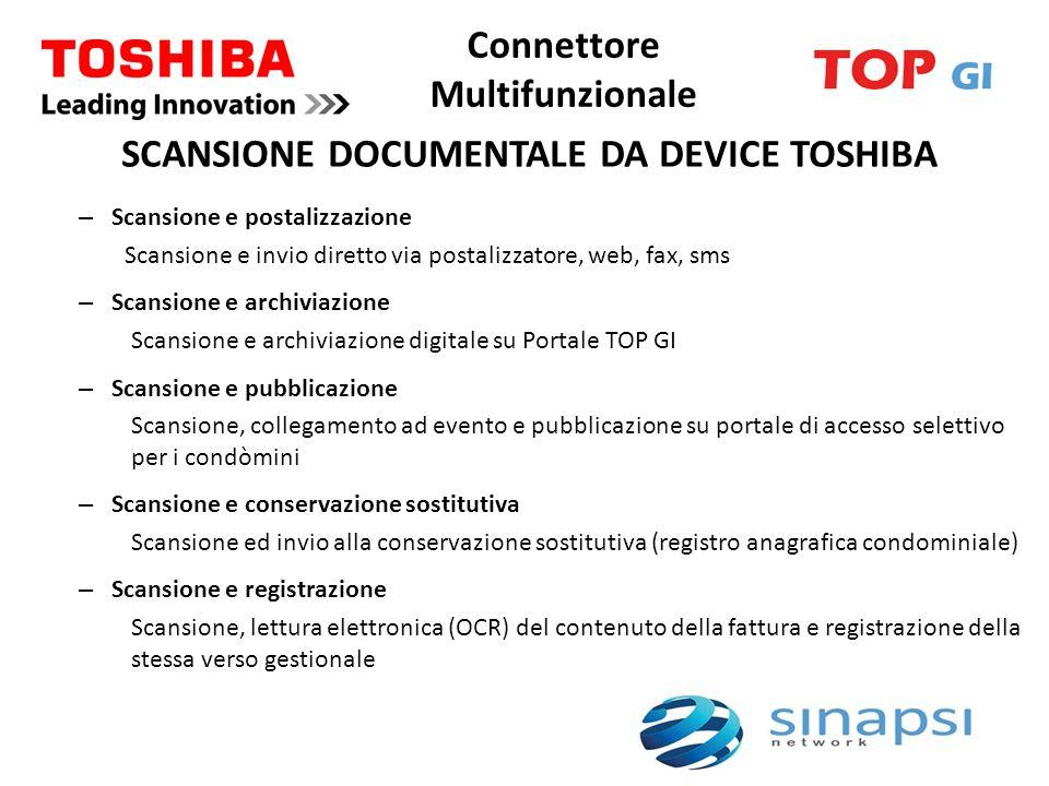 Connettore Multifunzionale – Scansione e postalizzazione Scansione e invio diretto via postalizzatore, web, fax, sms – Scansione e archiviazione Scans