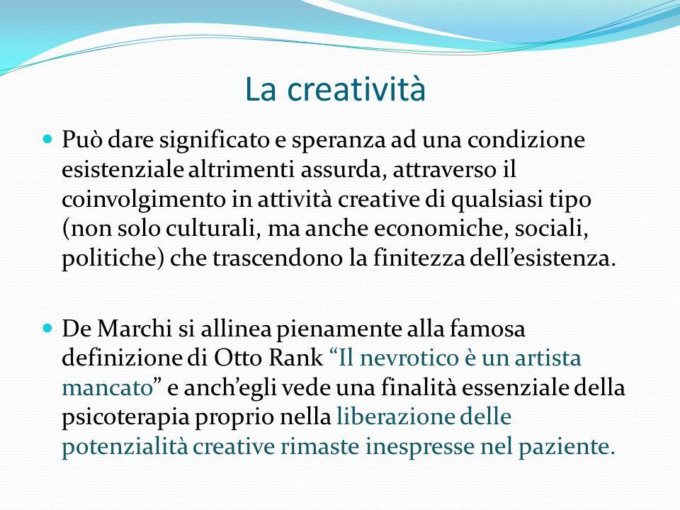 La creatività Può dare significato e speranza ad una condizione esistenziale altrimenti assurda, attraverso il coinvolgimento in attività creative di qualsiasi tipo (non solo culturali, ma anche economiche, sociali, politiche) che trascendono la finitezza dellesistenza.