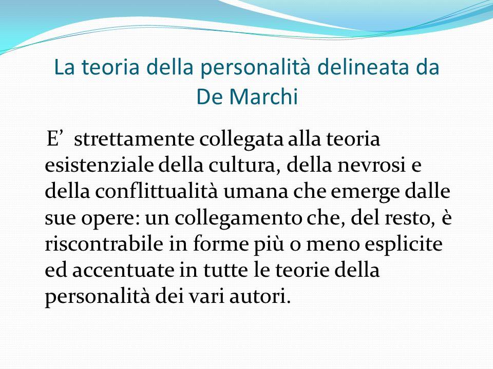 La teoria della personalità delineata da De Marchi E strettamente collegata alla teoria esistenziale della cultura, della nevrosi e della conflittualità umana che emerge dalle sue opere: un collegamento che, del resto, è riscontrabile in forme più o meno esplicite ed accentuate in tutte le teorie della personalità dei vari autori.