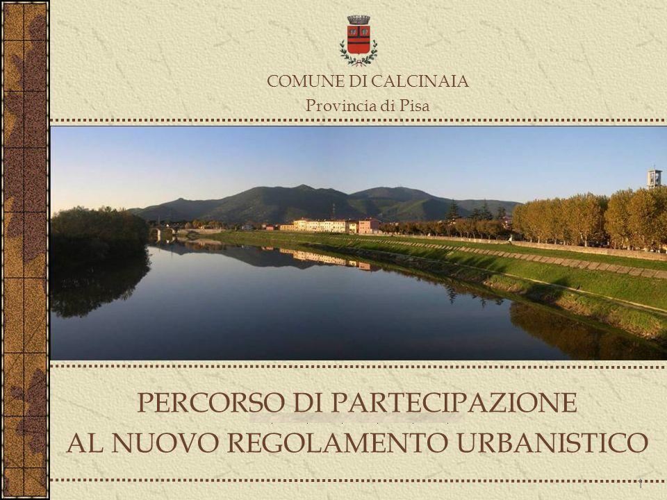PERCORSO DI PARTECIPAZIONE AL NUOVO REGOLAMENTO URBANISTICO COMUNE DI CALCINAIA Provincia di Pisa 1