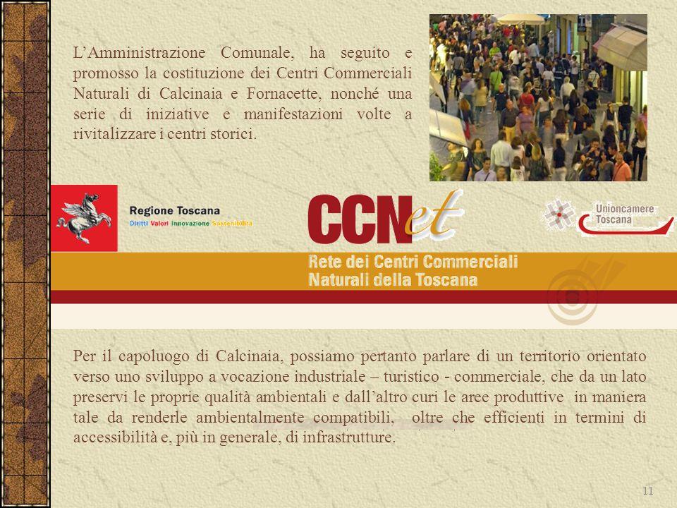 11 LAmministrazione Comunale, ha seguito e promosso la costituzione dei Centri Commerciali Naturali di Calcinaia e Fornacette, nonché una serie di ini