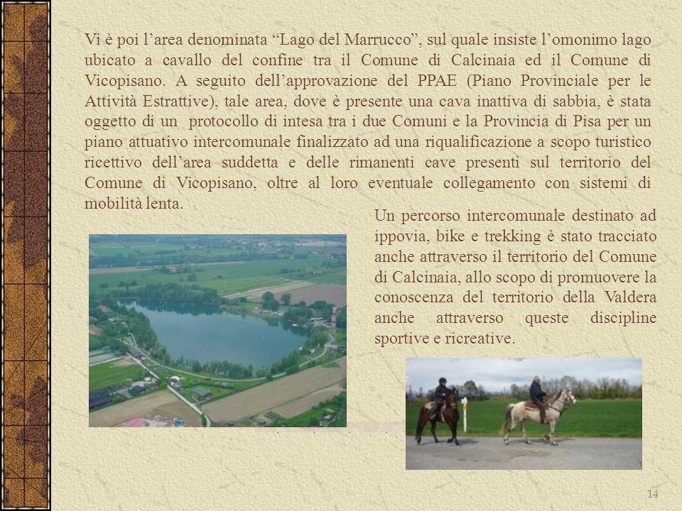 14 Vi è poi larea denominata Lago del Marrucco, sul quale insiste lomonimo lago ubicato a cavallo del confine tra il Comune di Calcinaia ed il Comune