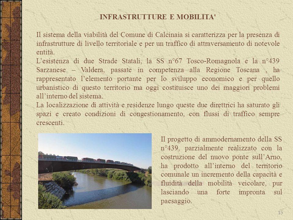 15 INFRASTRUTTURE E MOBILITA' Il sistema della viabilità del Comune di Calcinaia si caratterizza per la presenza di infrastrutture di livello territor