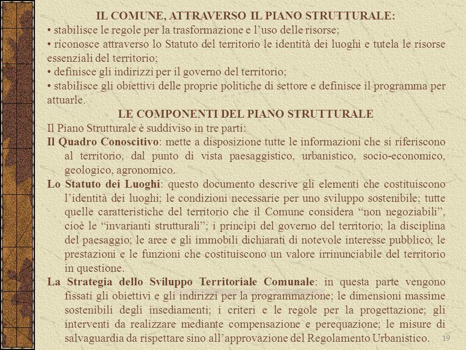 19 IL COMUNE, ATTRAVERSO IL PIANO STRUTTURALE: stabilisce le regole per la trasformazione e luso delle risorse; riconosce attraverso lo Statuto del te