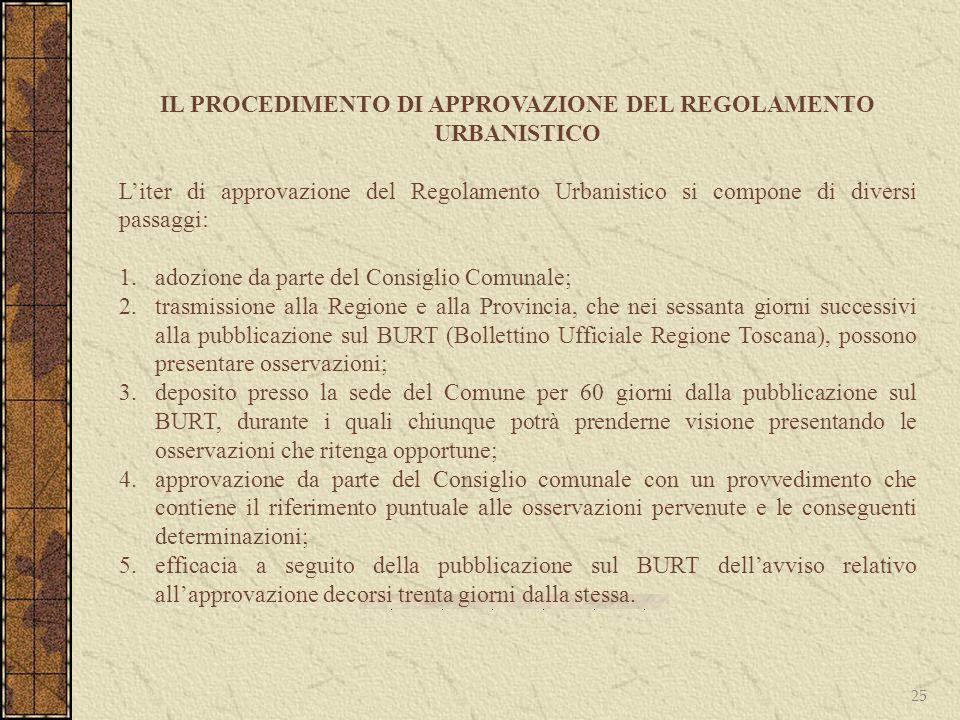 25 IL PROCEDIMENTO DI APPROVAZIONE DEL REGOLAMENTO URBANISTICO Liter di approvazione del Regolamento Urbanistico si compone di diversi passaggi: 1.ado