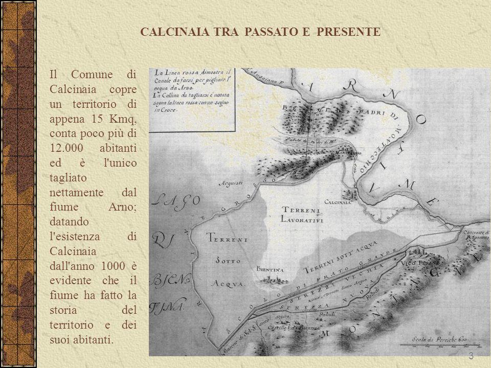 Il Comune di Calcinaia copre un territorio di appena 15 Kmq, conta poco più di 12.000 abitanti ed è l'unico tagliato nettamente dal fiume Arno; datand