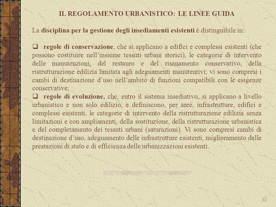 33 IL REGOLAMENTO URBANISTICO: LE LINEE GUIDA La disciplina per la gestione degli insediamenti esistenti è distinguibile in: regole di conservazione,
