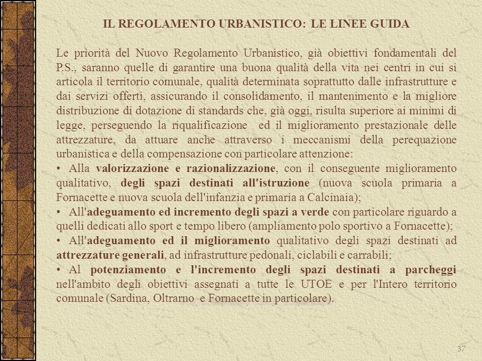 37 IL REGOLAMENTO URBANISTICO: LE LINEE GUIDA Le priorità del Nuovo Regolamento Urbanistico, già obiettivi fondamentali del P.S., saranno quelle di ga