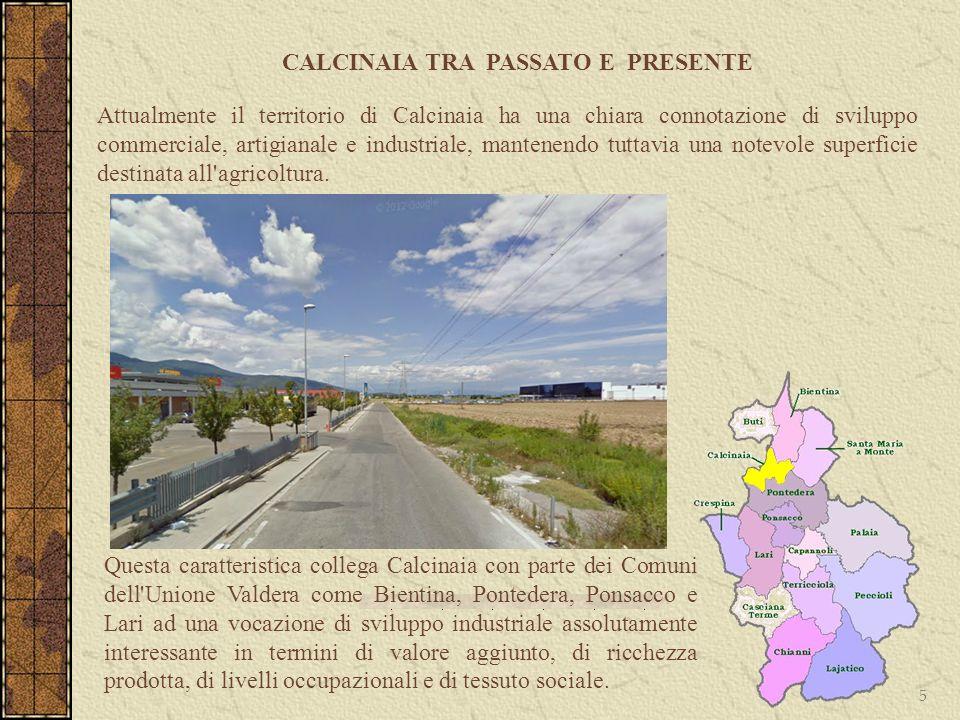 CALCINAIA TRA PASSATO E PRESENTE 5 Attualmente il territorio di Calcinaia ha una chiara connotazione di sviluppo commerciale, artigianale e industrial