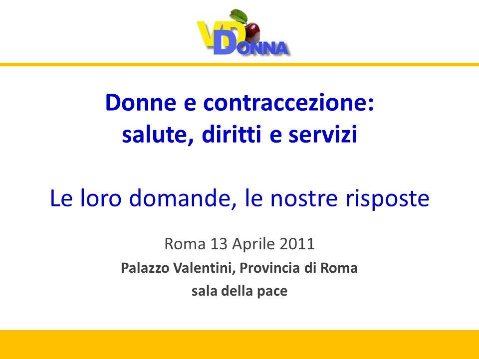 Donne e contraccezione: salute, diritti e servizi Le loro domande, le nostre risposte Roma 13 Aprile 2011 Palazzo Valentini, Provincia di Roma sala della pace