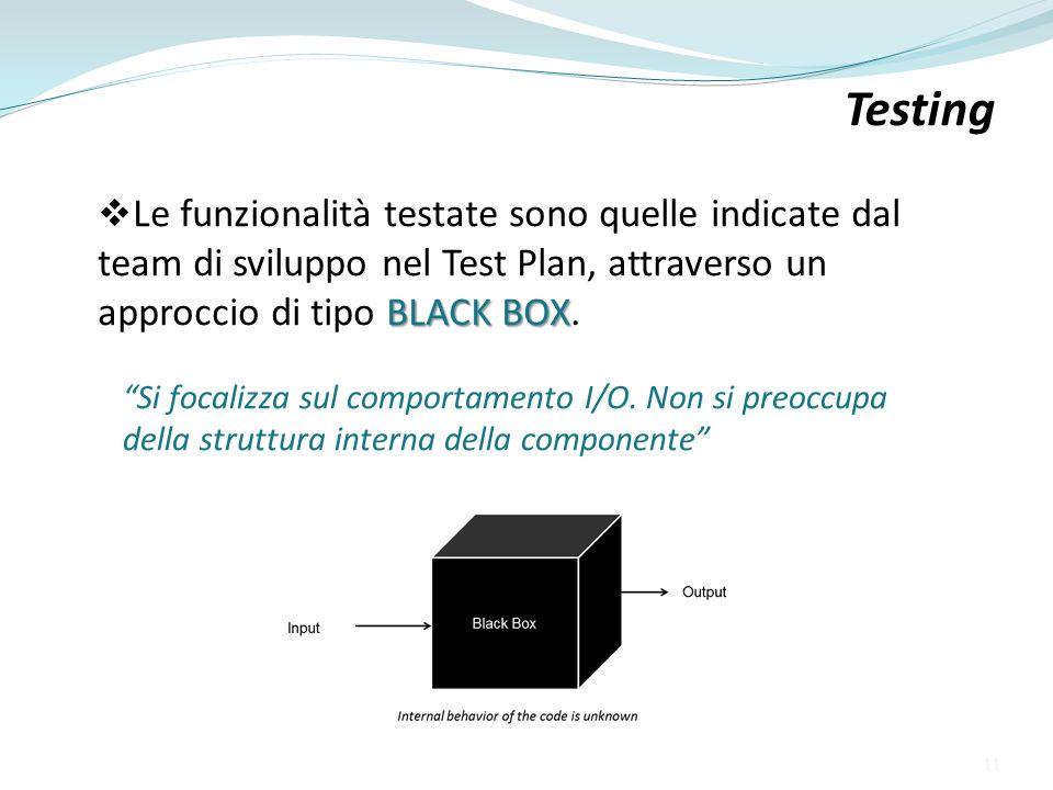 BLACK BOX Le funzionalità testate sono quelle indicate dal team di sviluppo nel Test Plan, attraverso un approccio di tipo BLACK BOX. Testing Si focal