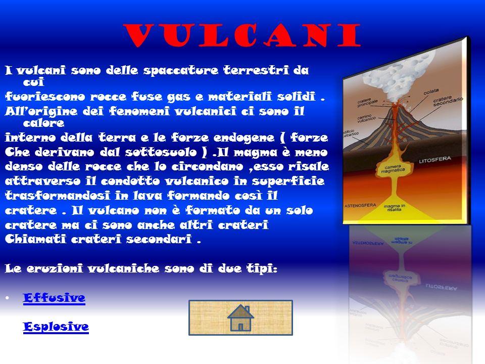Vulcani I vulcani sono delle spaccature terrestri da cui fuoriescono rocce fuse gas e materiali solidi.