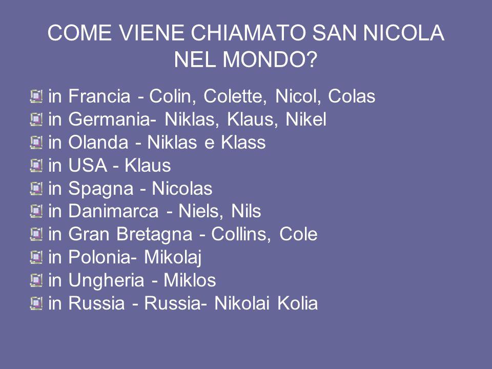 COME VIENE CHIAMATO SAN NICOLA NEL MONDO.