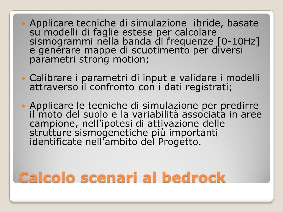 Calcolo scenari al bedrock Applicare tecniche di simulazione ibride, basate su modelli di faglie estese per calcolare sismogrammi nella banda di frequ