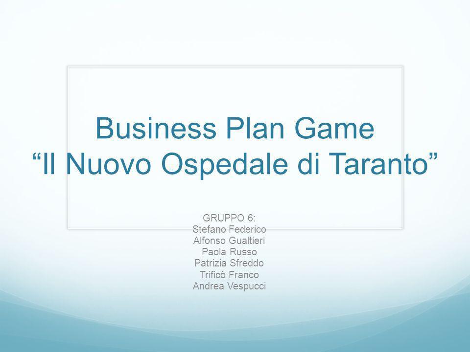 Business Plan Game Il Nuovo Ospedale di Taranto GRUPPO 6: Stefano Federico Alfonso Gualtieri Paola Russo Patrizia Sfreddo Trificò Franco Andrea Vespuc