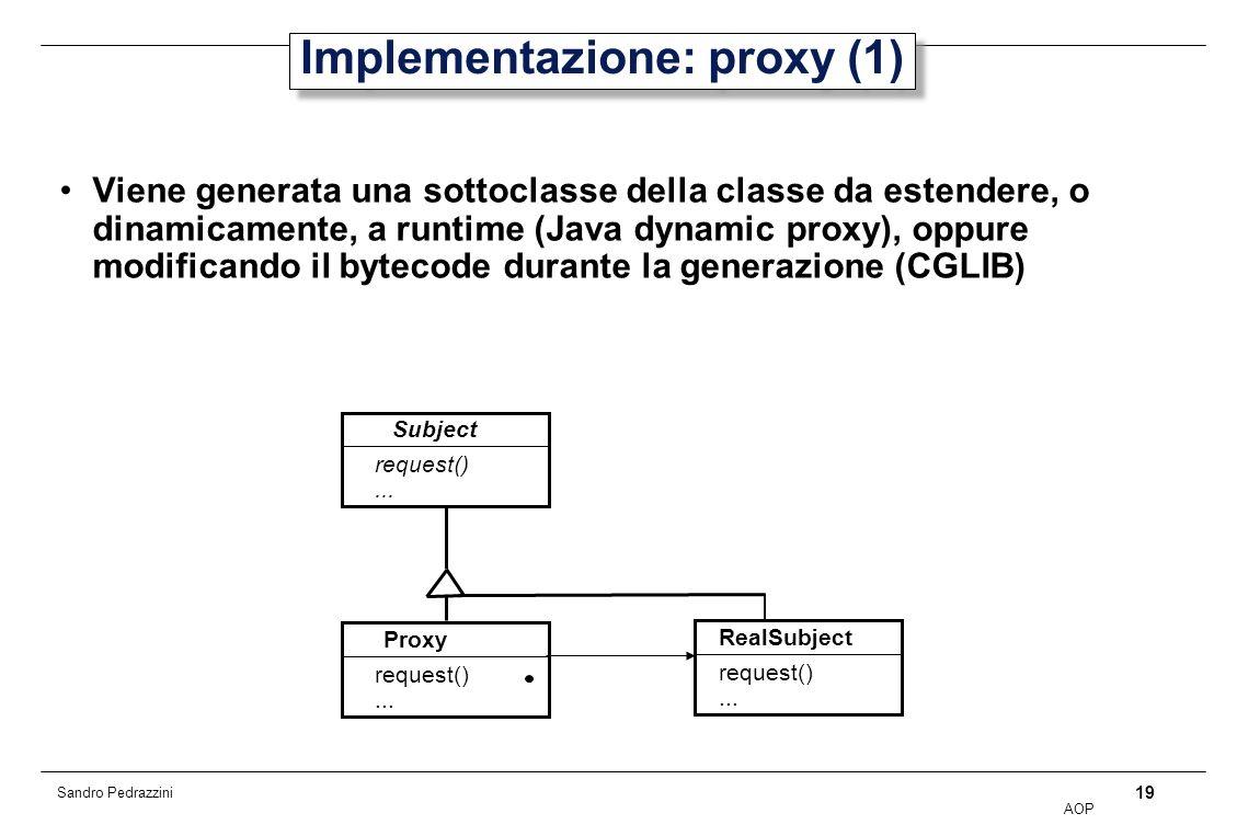 19 AOP Sandro Pedrazzini Implementazione: proxy (1) Viene generata una sottoclasse della classe da estendere, o dinamicamente, a runtime (Java dynamic proxy), oppure modificando il bytecode durante la generazione (CGLIB) Subject Proxy request()...