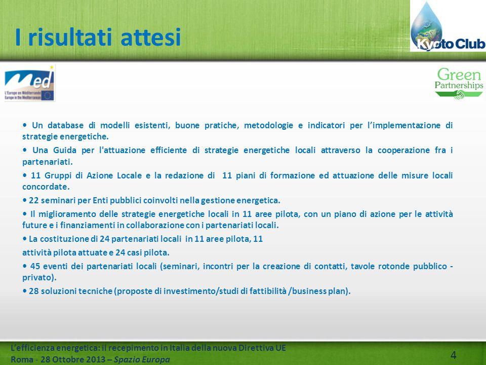 4 Lefficienza energetica: il recepimento in Italia della nuova Direttiva UE Roma - 28 Ottobre 2013 – Spazio Europa Un database di modelli esistenti, buone pratiche, metodologie e indicatori per limplementazione di strategie energetiche.