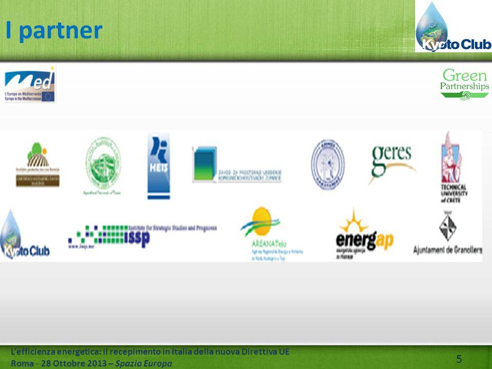 5 Lefficienza energetica: il recepimento in Italia della nuova Direttiva UE Roma - 28 Ottobre 2013 – Spazio Europa I partner