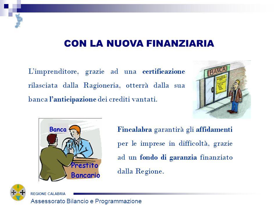 REGIONE CALABRIA CON LA NUOVA FINANZIARIA Limprenditore, grazie ad una certificazione rilasciata dalla Ragioneria, otterrà dalla sua banca lanticipazione dei crediti vantati.
