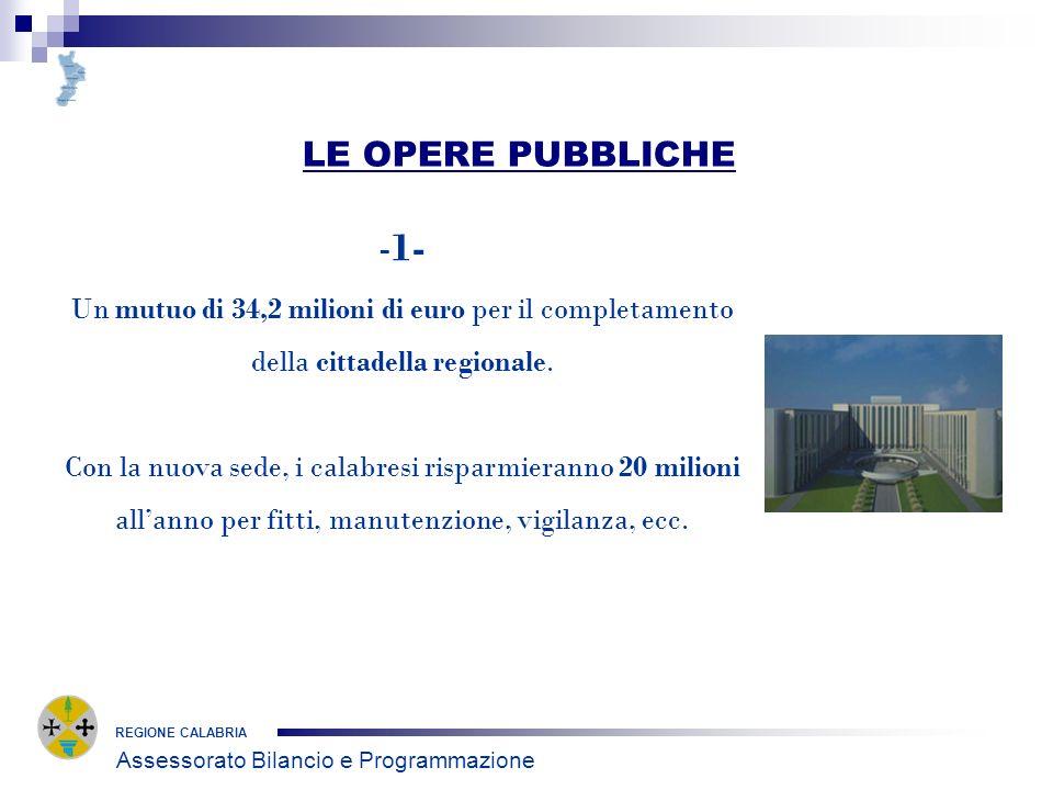 LE OPERE PUBBLICHE REGIONE CALABRIA -1- Un mutuo di 34,2 milioni di euro per il completamento della cittadella regionale.