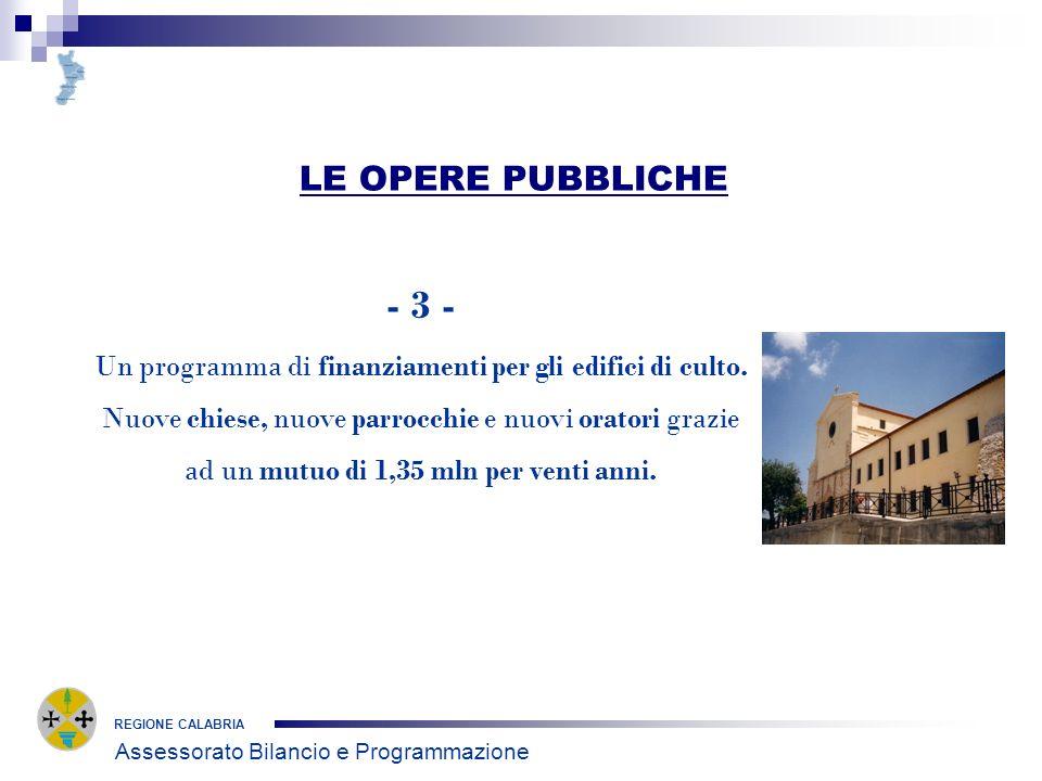 LE OPERE PUBBLICHE REGIONE CALABRIA - 3 - Un programma di finanziamenti per gli edifici di culto.