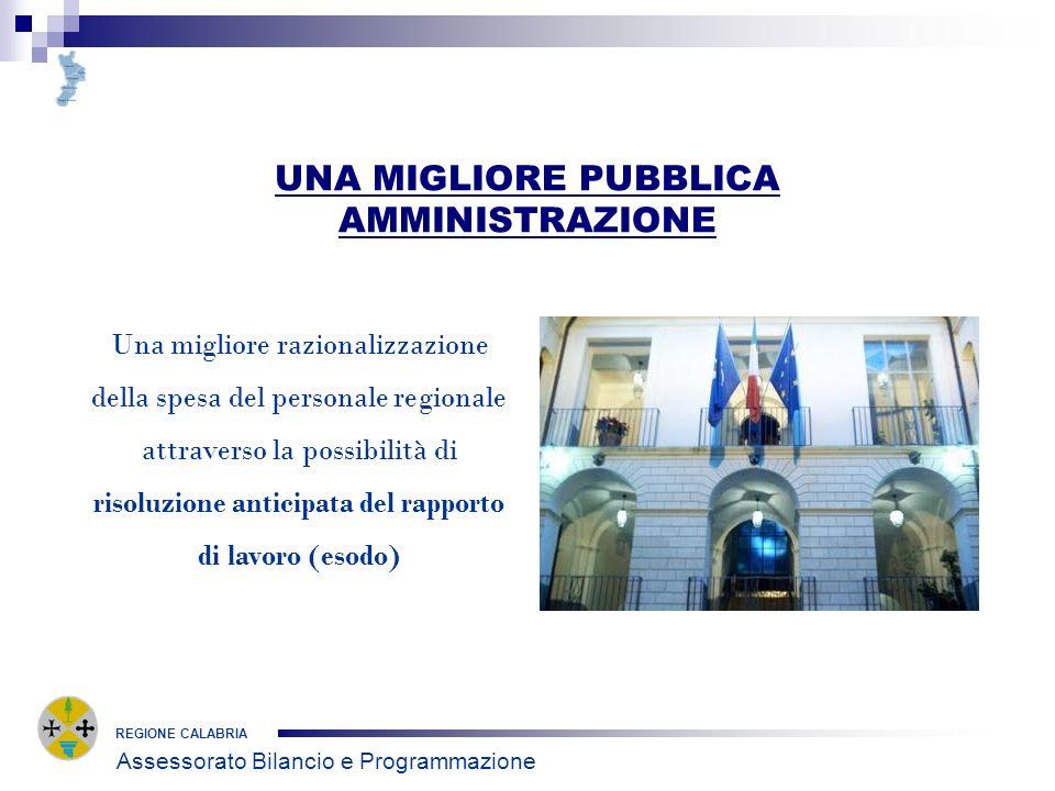 UNA MIGLIORE PUBBLICA AMMINISTRAZIONE REGIONE CALABRIA Una migliore razionalizzazione della spesa del personale regionale attraverso la possibilità di