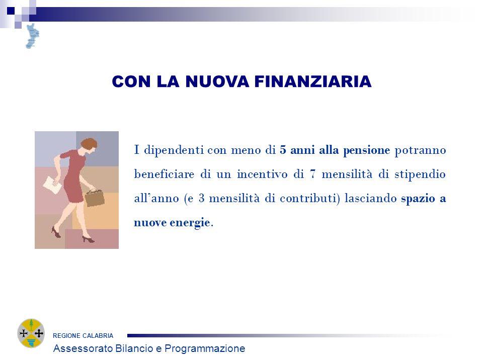 CON LA NUOVA FINANZIARIA REGIONE CALABRIA I dipendenti con meno di 5 anni alla pensione potranno beneficiare di un incentivo di 7 mensilità di stipend