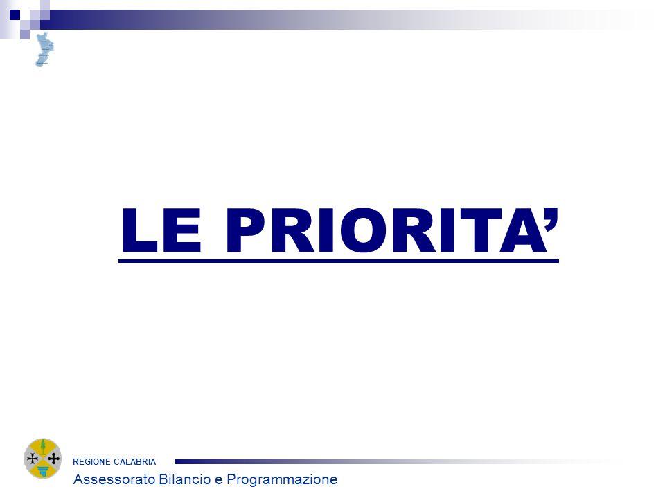 REGIONE CALABRIA LE PRIORITA Assessorato Bilancio e Programmazione