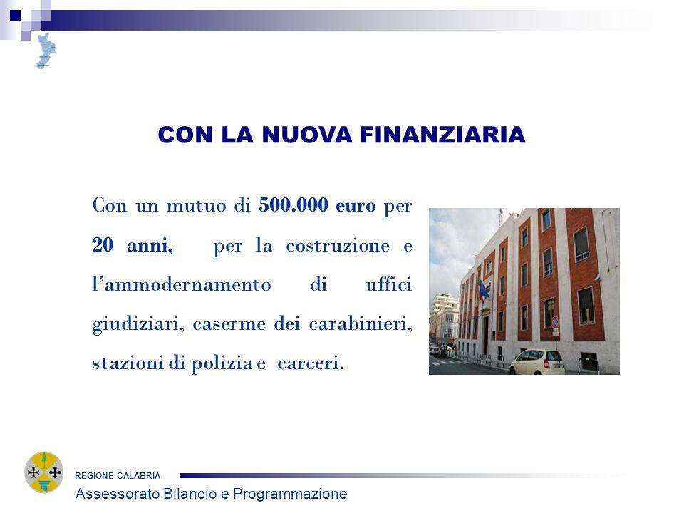 CON LA NUOVA FINANZIARIA REGIONE CALABRIA Con un mutuo di 500.000 euro per 20 anni, per la costruzione e lammodernamento di uffici giudiziari, caserme dei carabinieri, stazioni di polizia e carceri.