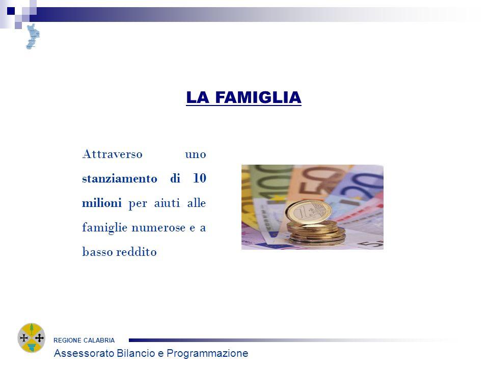 REGIONE CALABRIA LA FAMIGLIA Attraverso uno stanziamento di 10 milioni per aiuti alle famiglie numerose e a basso reddito Assessorato Bilancio e Progr