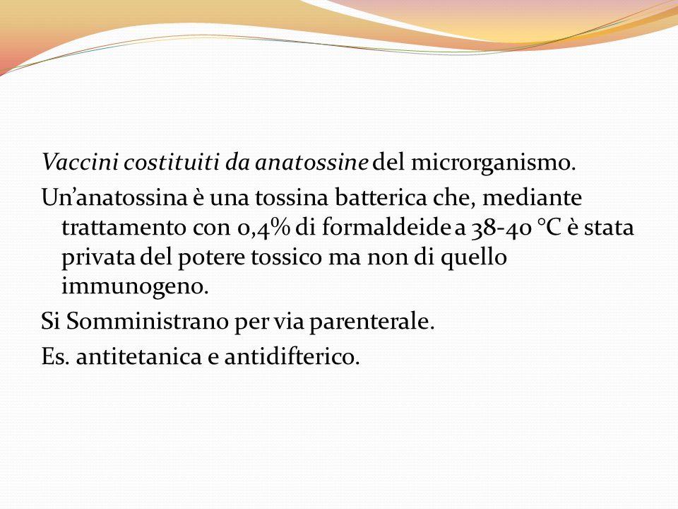 Vaccini costituiti da anatossine del microrganismo. Unanatossina è una tossina batterica che, mediante trattamento con 0,4% di formaldeide a 38-40 °C