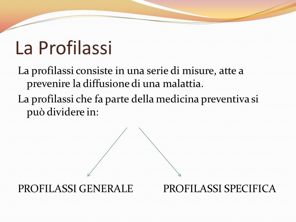 La Profilassi La profilassi consiste in una serie di misure, atte a prevenire la diffusione di una malattia. La profilassi che fa parte della medicina