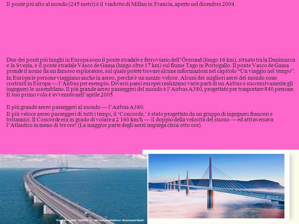 Il ponte più alto al mondo (245 metri) è il viadotto di Millau in Francia, aperto nel dicembre 2004. Due dei ponti più lunghi in Europa sono il ponte