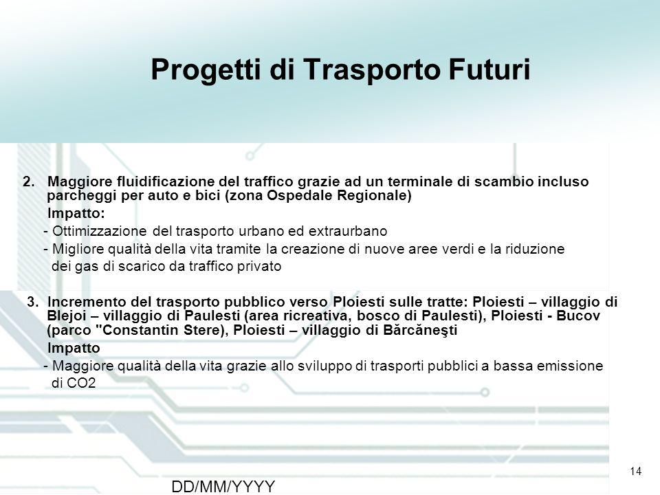 14 DD/MM/YYYY CATS - Type of meeting - Place 14 Progetti di Trasporto Futuri 2. Maggiore fluidificazione del traffico grazie ad un terminale di scambi