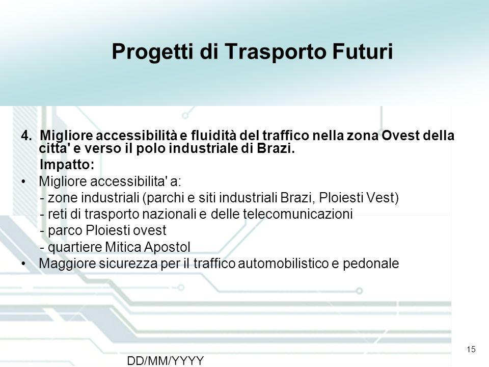 15 DD/MM/YYYY CATS - Type of meeting - Place 15 Progetti di Trasporto Futuri 4. Migliore accessibilità e fluidità del traffico nella zona Ovest della