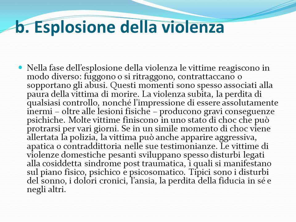b. Esplosione della violenza Nella fase dellesplosione della violenza le vittime reagiscono in modo diverso: fuggono o si ritraggono, contrattaccano o