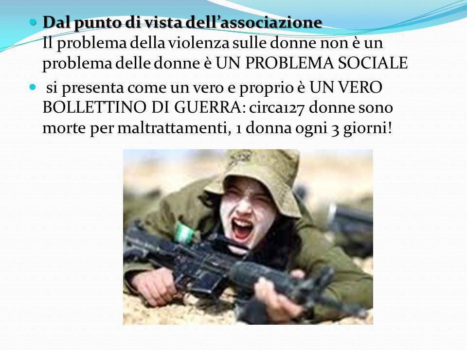 Dal punto di vista dellassociazione Dal punto di vista dellassociazione Il problema della violenza sulle donne non è un problema delle donne è UN PROB